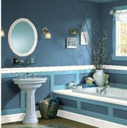Дизайн ванны с крашенными стенами